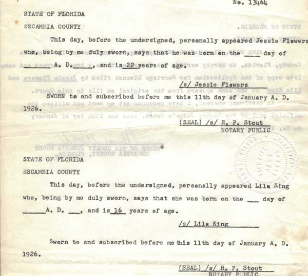 Escambia County Affidavit of ages of Lila King, 16, and Jessie Flowers, 22, dated 11 Jan 1926