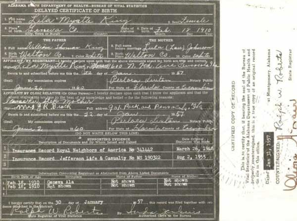Geneva County, Alabama, Birth Certificate of Lila Myrtle King