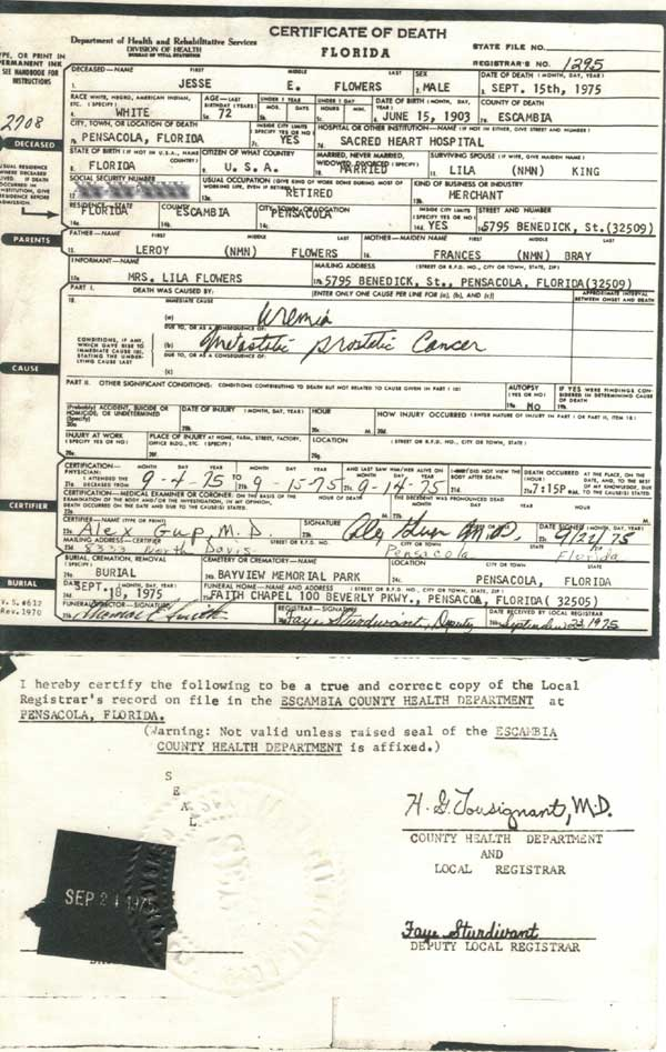 HOLMES COUNTY - Death Certificates and Burials - Jessie E Flowers