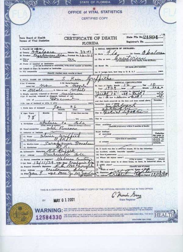 Death certificates florida