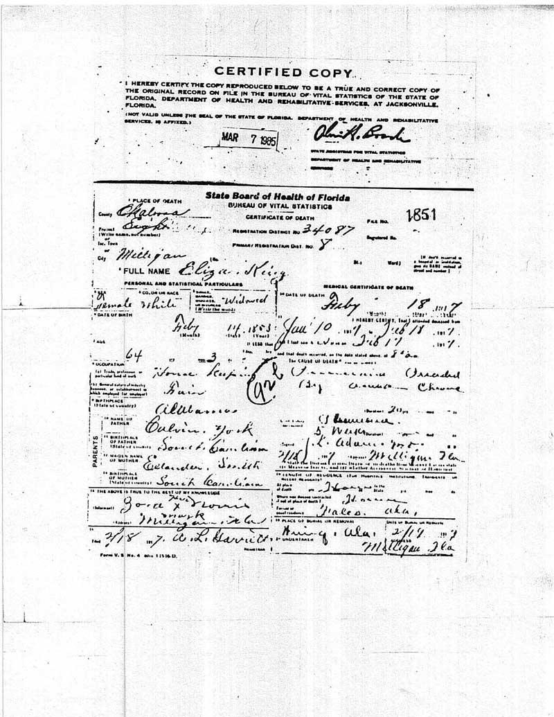 Okaloosa County, Florida, Death Certificate of Eliza York King, died 18 Feb 1917