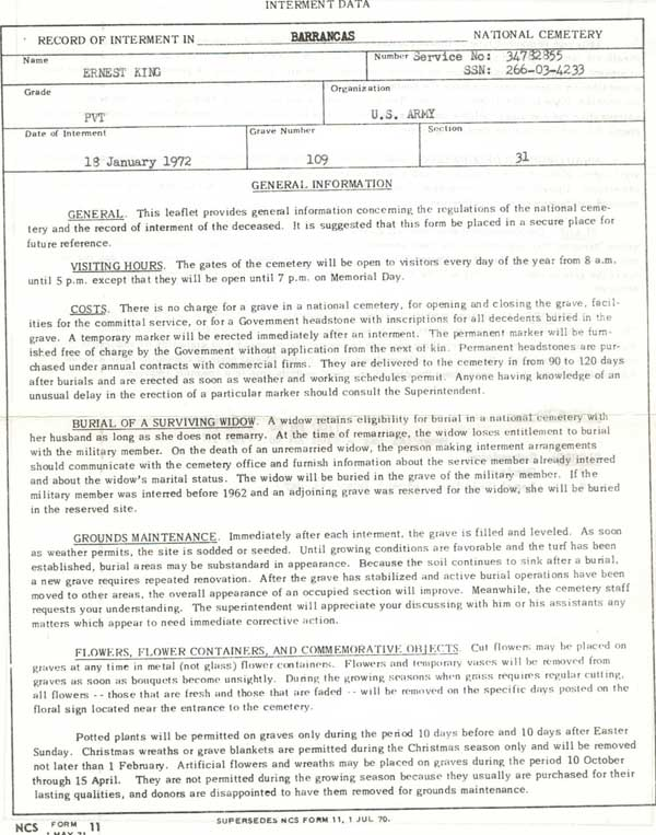 Escambia County, Florida, Burial Record of Ernest King at Barrancas National Cemetery, 18 Jan 1972